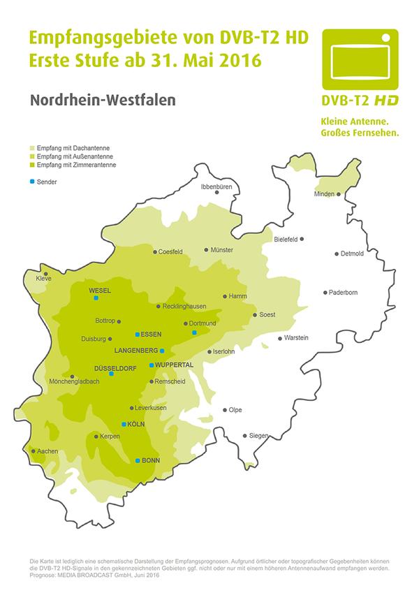 Nordrhein Westfalen Karte.Digitales Antennenfernsehen Dvb T2 Hd Landesanstalt Fur