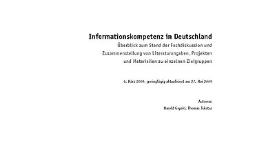 "Cover der Epertise ""Informationskompetenz"""